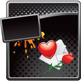 Black halftone grungy ad love letter and rose Royalty Free Stock Image