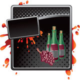 Black halftone grungy ad wine bottles and grapes Stock Image