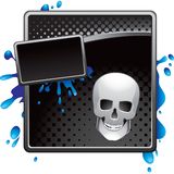 Black halftone halloween skull advertisement Stock Image