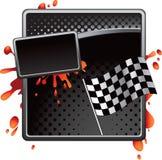 Black halftone racing checkered flag advertisement Stock Photo