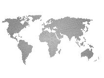 Black halftone world map of small dots in radial arrangement. Simple flat vector illustration on white background Stock Photos