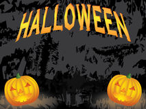 Black Halloween background. With two pumpkins vector illustration Royalty Free Stock Photography