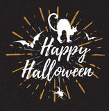 Black Halloween background with cat Stock Image