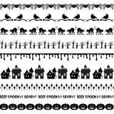 Black Halloween Border Patterns Stock Images