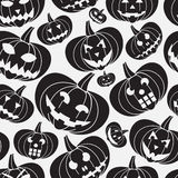 Black halloween carved pumpkin seamless pattern Royalty Free Stock Images
