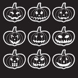 Black halloween carved pumpkins stickers. Eps10 vector illustration