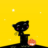 Black Halloween cat silhouette on the roof. Black Cat sitting on the roof during Halloween. Vector Illustration Stock Images