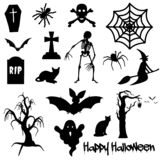 Black Halloween text on white background with spider, pumpkin, crowBlack Halloween objects on white background spider, bat, skele vector illustration