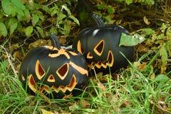 Black Halloween Pumpkins Royalty Free Stock Images