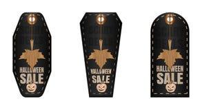 Black Halloween sale tags set. Halloween sale stock illustration