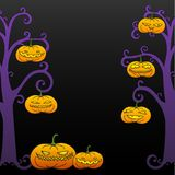 Black Halloween tree frame Stock Photography