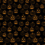 Black  halloween vector print seamless pattern with jack-o-lantern pumpkin. Royalty Free Stock Images