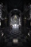 Black hallway. A CG render of a long black hallway of a castle Stock Images