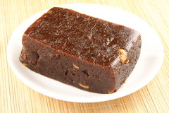 Black Halwa. PLATE OF TASTY Black Halwa with Cashew Royalty Free Stock Images