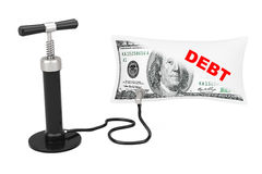 Black Hand Air Pump Inflates US Dollars Balloon with Debt Sign. Black Hand Air Pump Inflates US Dollars Balloon with Debt Sign on a white background. 3d Stock Photo