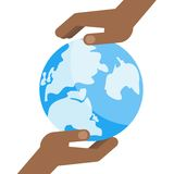 Black hand blue world. Two black hands hold a blue planet earth. Symbol of respect for nature and environment. Flat vector cartoon illustration. Objects isolated Stock Photography