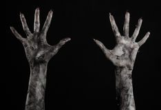 Black hand of death, the walking dead, zombie theme, halloween theme, zombie hands, black background, mummy hands Royalty Free Stock Photos