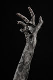 Black hand of death, the walking dead, zombie theme, halloween theme, zombie hands, black background, mummy hands Stock Photography