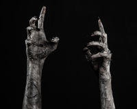 Black hand of death, the walking dead, zombie theme, halloween theme, zombie hands, black background, mummy hands. The hands of the devil, hands monster Stock Photos