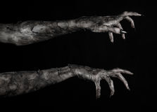 Black hand of death, the walking dead, zombie theme, halloween theme, zombie hands, black background, mummy hands. The hands of the devil, hands monster Stock Photography