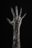 Black hand of death, the walking dead, zombie theme, halloween theme, zombie hands, black background, mummy hands. The hands of the devil, hands monster Royalty Free Stock Photos