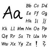Black hand drawing font alphabet Stock Images