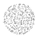 Black Hand Drawn Doodle Symbols and Numbers. Scribble Signs Arranged in a Circle Royalty Free Stock Images