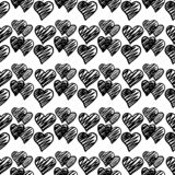 Black hand drawn geometric hearts seamless pattern on white background royalty free stock photos