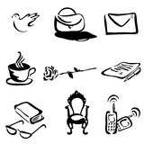 Black hand drawn icons Royalty Free Stock Images