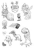 Black hand-drawn lines silhouettes of different terrible horrifying monsters on a white background vector illustration