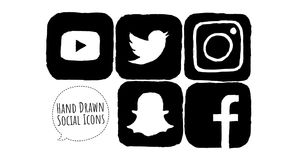 Black Hand Drawn Social Media Icons. Hand drawn, sketched black social media icons for Youtube, Snapchat, Instagram and Facebook. Ready for use on the web and on royalty free illustration