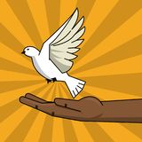 Black hand and flying pigeon peace free concept. Vector illustration Royalty Free Stock Photo