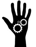 Black hand with gears Royalty Free Stock Photography