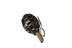 Black hand grenade isolated on white Stock Image