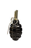 Black hand grenade isolated on white Stock Photo