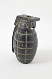 Black Hand Grenade. One Black Hand Grenade on a White Background Royalty Free Stock Photo