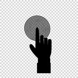 Black hand with index finger pushing spiral target aim or pressing a button. Vector illustration of index finger pointing to the target, business concept, black Stock Photography