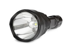 Black hand-LED flashlight Stock Photos
