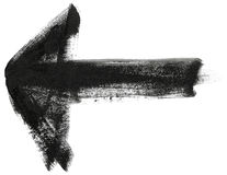 Black hand painted brush stroke arrow Stock Image