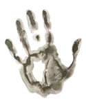 Black hand print. Isolated on white background Royalty Free Stock Photography