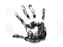 Black hand print. Isolated over white background Royalty Free Stock Image