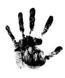 Black hand print. A real black hand print on white background Stock Images