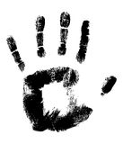 Black Hand print on White Stock Photos