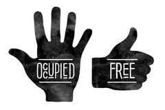 Black hand silhouettes with the words Occupied and Royalty Free Stock Photos