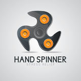 Black hand spinner fidget toy Stock Photos