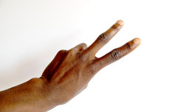 Black hand two. This is the number two black hand gesture stock image