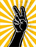 Black hand- victory. Black hand showing victory or peace sign grunge textured vector illustration Royalty Free Stock Photography
