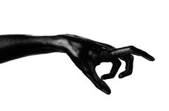 Black hand on white background, isolated, paint Royalty Free Stock Images