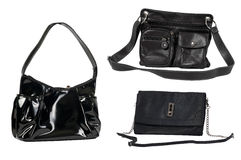 Isolated Black Handbags Royalty Free Stock Images