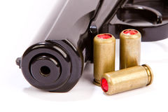 Black handgun And ammunition isolated on white Royalty Free Stock Photography